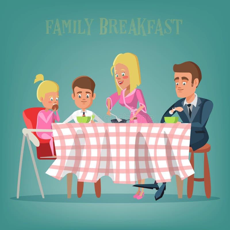 Gelukkige familie die ontbijt in keuken hebben Mamma, Papa, Zoon en Dochter die op de Lijst eten vector illustratie