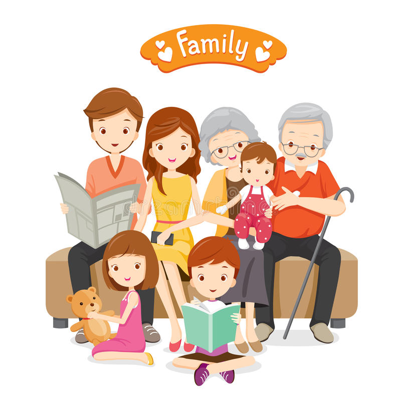 Gelukkige Familie die op Bank en Vloer situeren stock illustratie