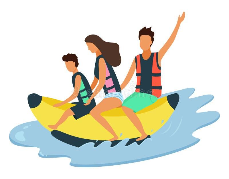 Gelukkige Familie die op Opblaasbare Banaan op Overzees berijden stock illustratie