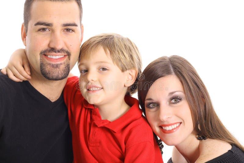 Gelukkige familie die op wit wordt geïsoleerdg stock afbeelding