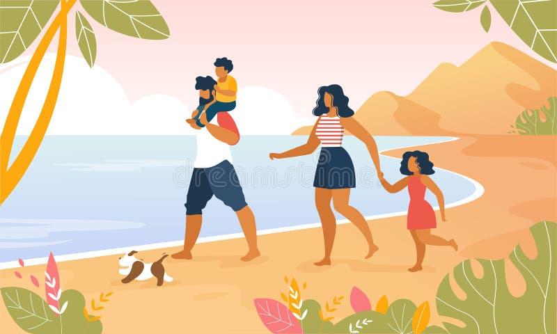 Gelukkige Familie die in openlucht langs Oceaanstrand lopen vector illustratie
