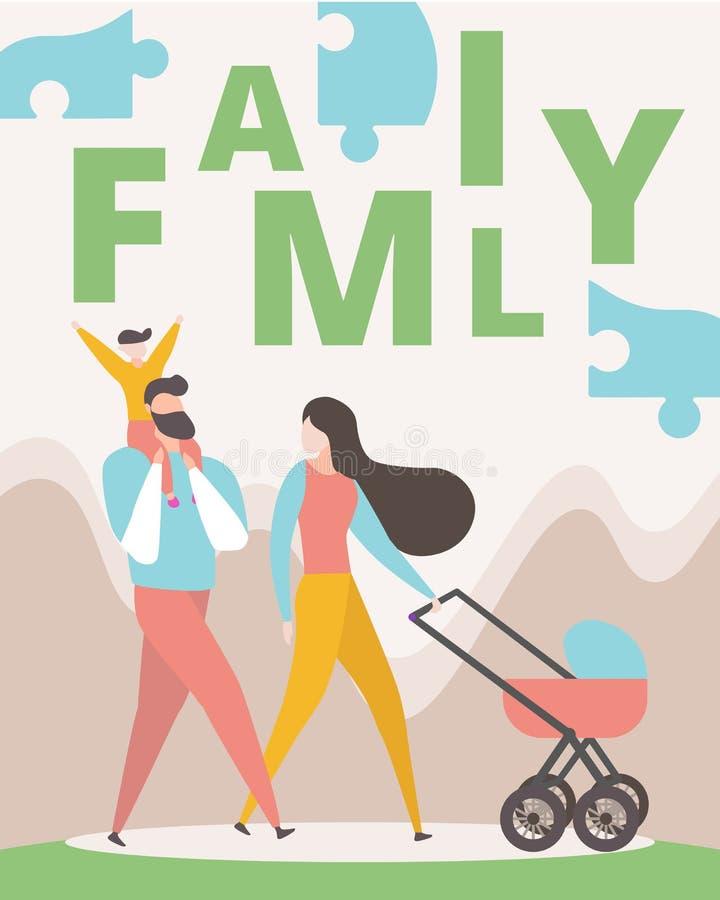 Gelukkige Familie die samen lopen Man, Vrouw, Jong geitje royalty-vrije illustratie