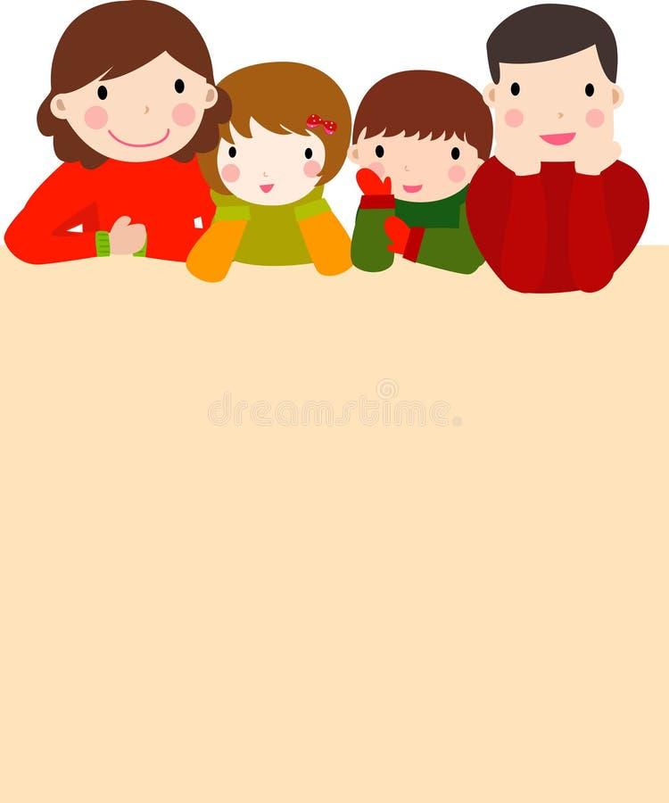 Gelukkige familie en banner stock illustratie