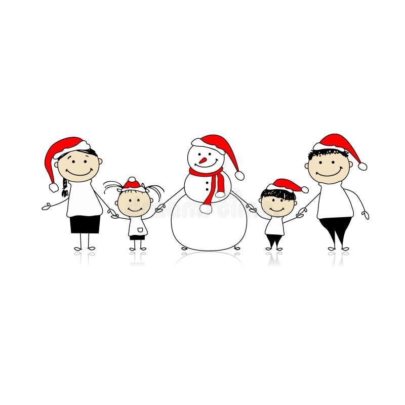 Gelukkige familie en sneeuwman, Kerstmisvakantie royalty-vrije illustratie