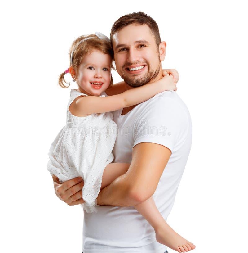 Gelukkige familie en van de vader dag dochter die papa koesteren stock afbeelding