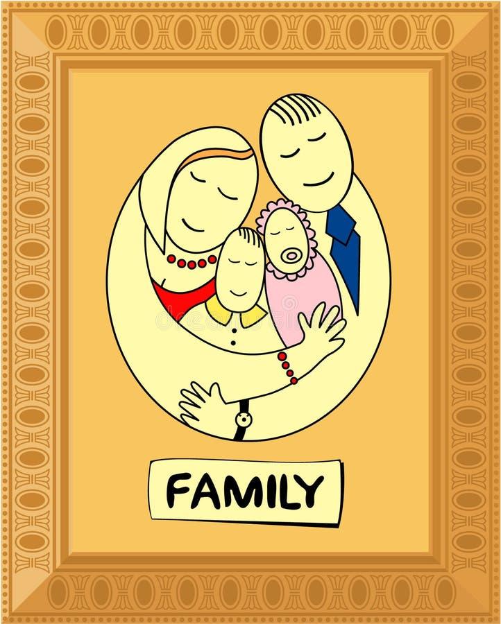 Gelukkige familie in frame royalty-vrije stock foto's