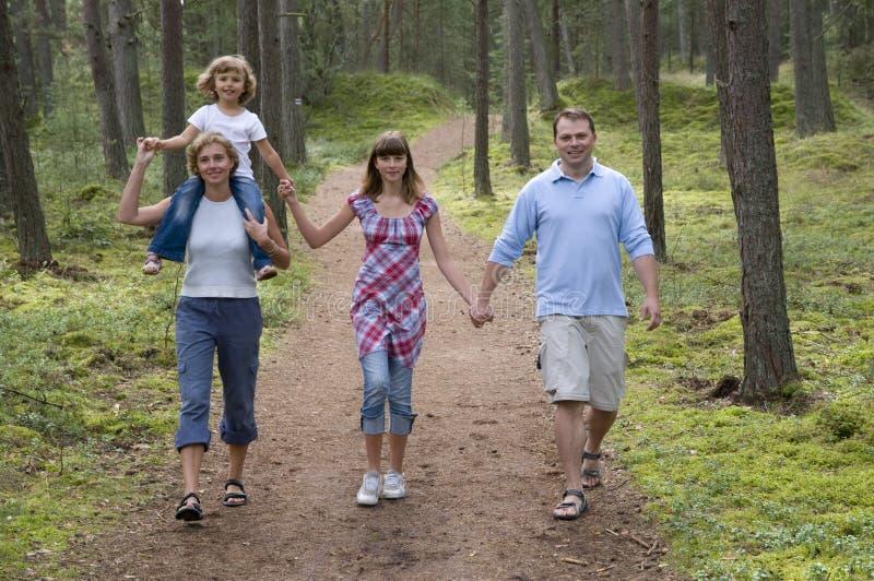 Gelukkige familie in het bos stock foto's
