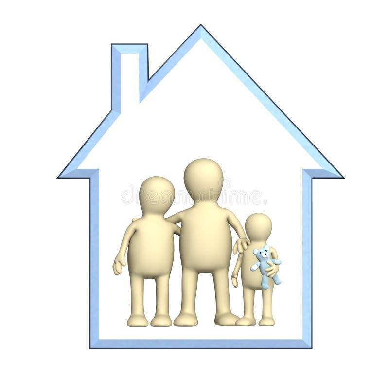Gelukkige familie in het huis stock illustratie