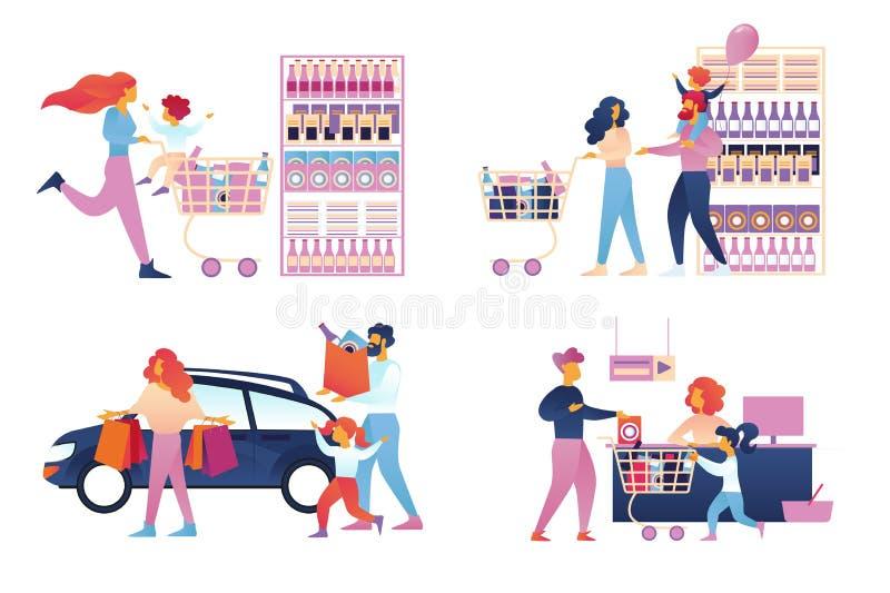 Gelukkige Familie het Winkelen Ge?soleerde Reeks supermarkt vector illustratie