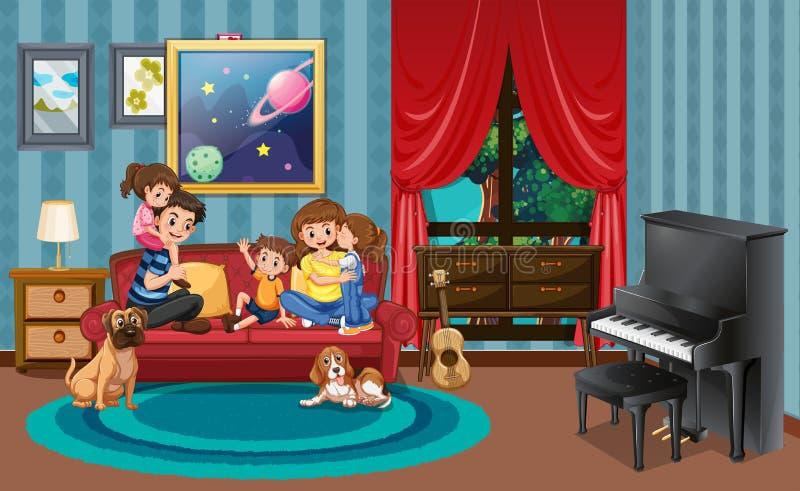 Gelukkige familie in lengruimte stock illustratie