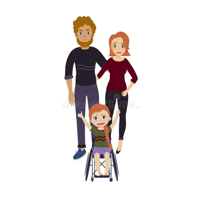 Gelukkige familie met gehandicapt rolstoelmeisje vector illustratie