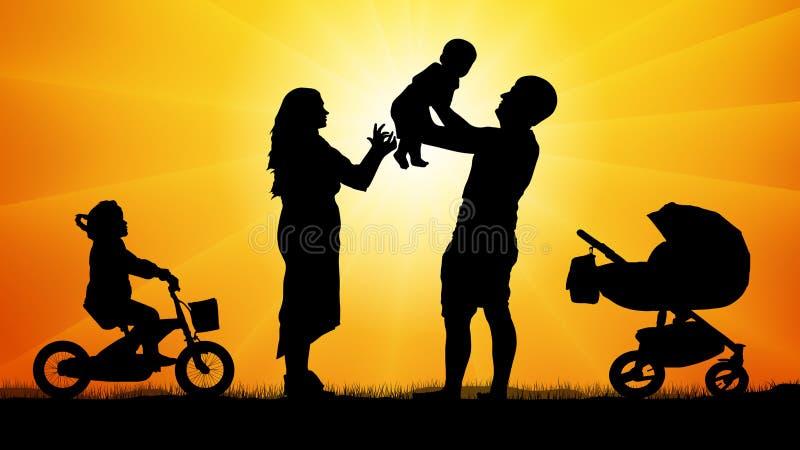 Gelukkige familie met kinderen bij zonsondergangsilhouet royalty-vrije illustratie