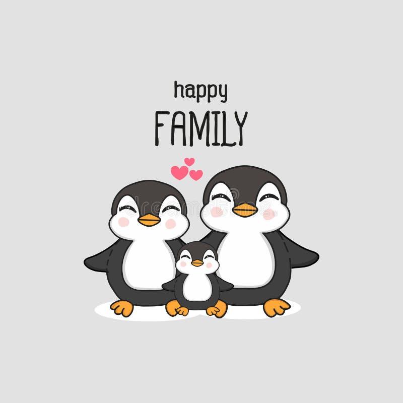 Gelukkige familie met leuk pinguïnhand getrokken beeldverhaal royalty-vrije illustratie