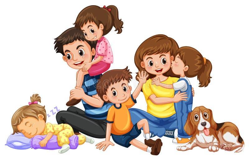Gelukkige familie met vier jonge geitjes en één hond stock illustratie