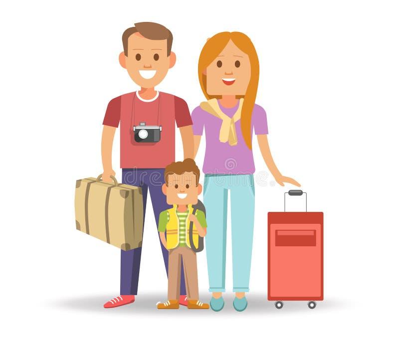 Gelukkige familie met volledige koffers klaar te reizen vector illustratie