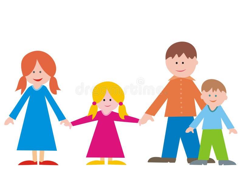 Gelukkige familie, moeder, dochter, vader en zoon, vectorillustratie stock illustratie