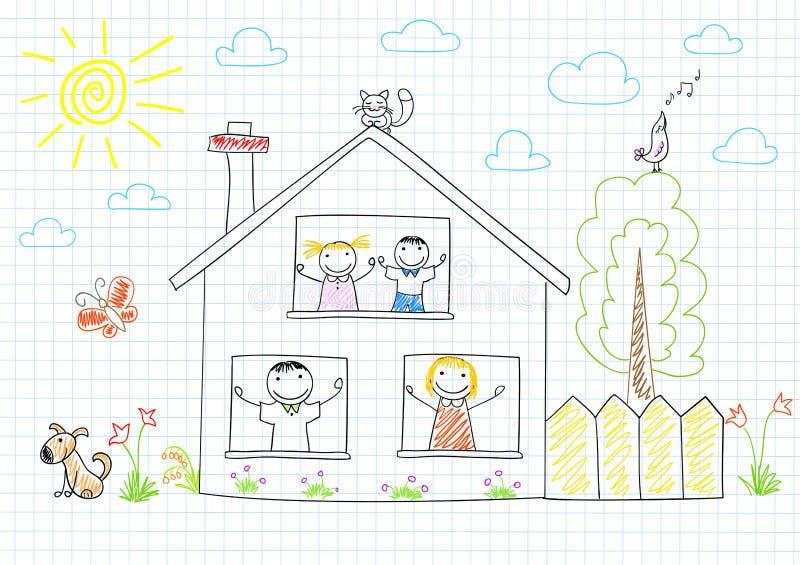 Gelukkige familie in nieuw huis royalty-vrije illustratie