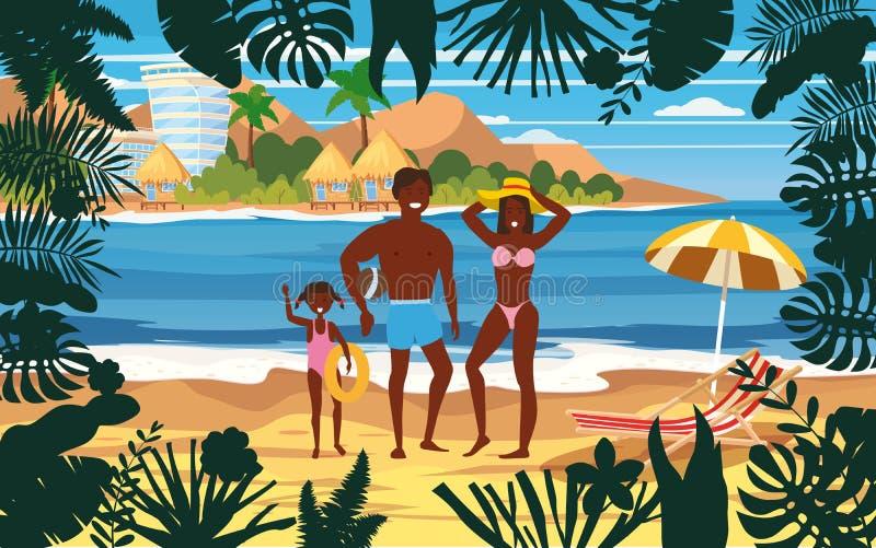 Gelukkige Familie op het Strand van de de Zomervakantie Vader Mother en Dochter die Strand van Vakantie genieten die op Zand Over stock illustratie