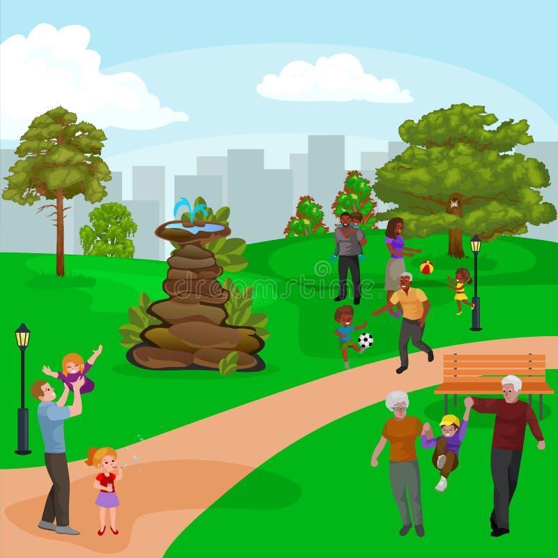 Gelukkige familie in park met fontein, jongens en meisjes die in openlucht rond tuinwaterval spelen, toevallige mensen in vakanti royalty-vrije illustratie