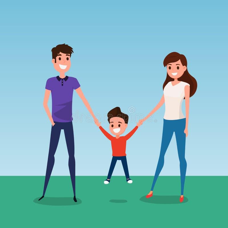 Gelukkige familie samen en greep die ter beschikking lopen vadermoeder en zoon Vlakke ontwerpstijl royalty-vrije illustratie