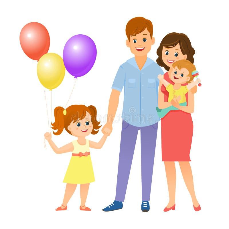 Gelukkige Familie samen Meisje met baloons stock illustratie