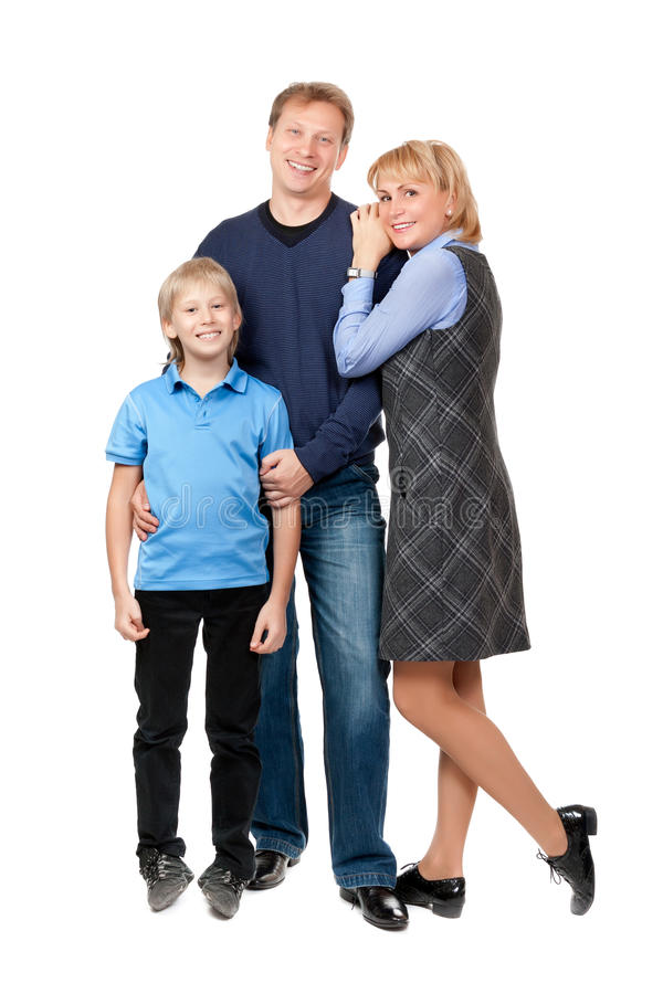 Gelukkige familie. Vader, moeder en jongen stock foto's