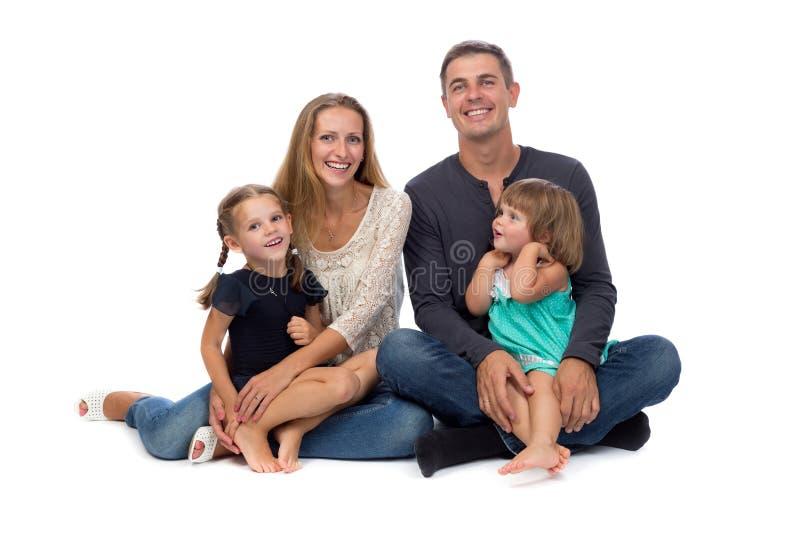 Gelukkige Familie Vader, moeder en kinderen stock afbeeldingen
