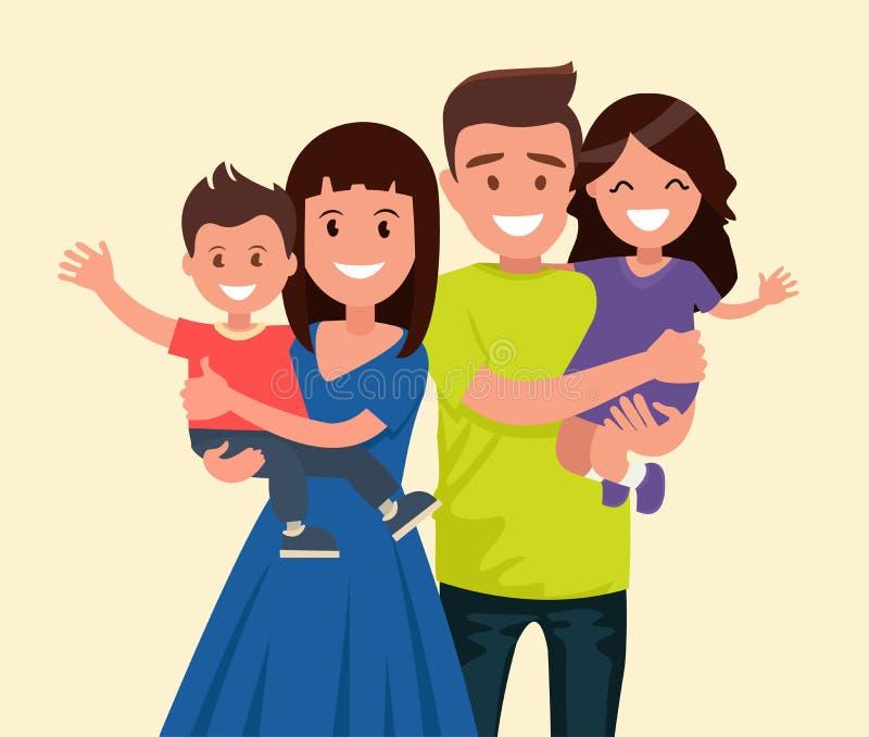 Gelukkige Familie Vader, moeder, zoon en dochter De ouders houden op de handen van hun kinderen stock illustratie