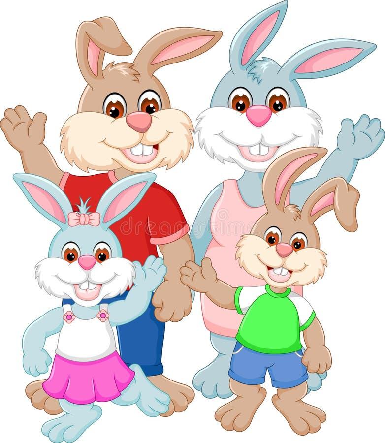 Gelukkige familie van konijnbeeldverhaal royalty-vrije illustratie