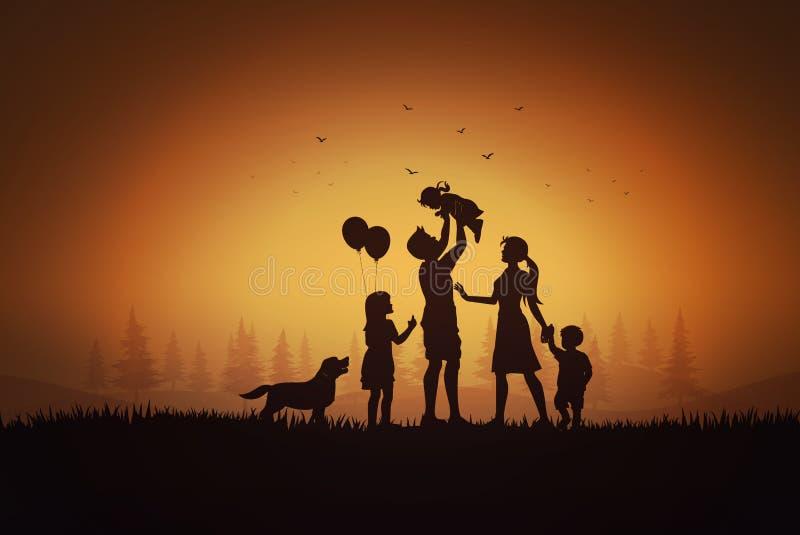 Gelukkige familiedag, vadermoeder en kinderen royalty-vrije illustratie