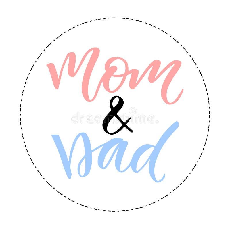 Gelukkige Familiedruk Het Ontwerp van de groetkaart Mamma en Papa royalty-vrije illustratie