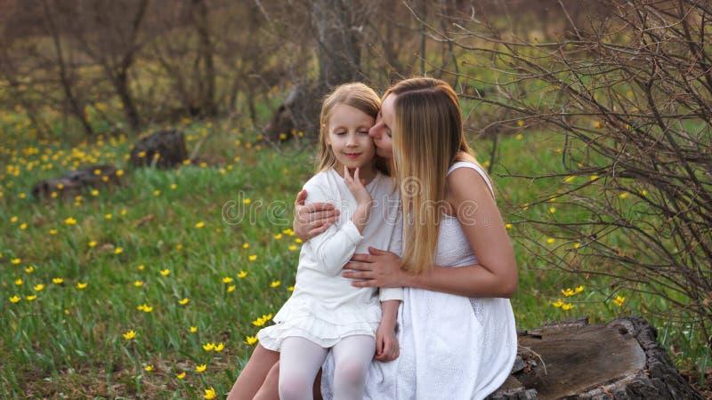 Gelukkige familiegangen in de de lenteweide stock afbeeldingen