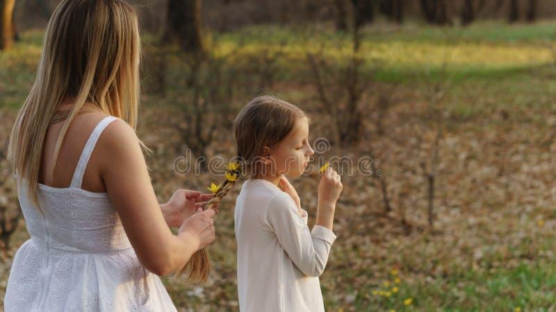 Gelukkige familiegangen in de de lenteweide royalty-vrije stock afbeeldingen