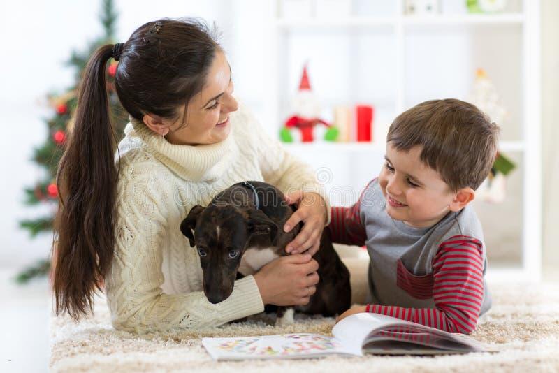 Gelukkige familiemoeder en zoon die van het spelen met nieuwe hond genieten bij Kerstmis royalty-vrije stock fotografie