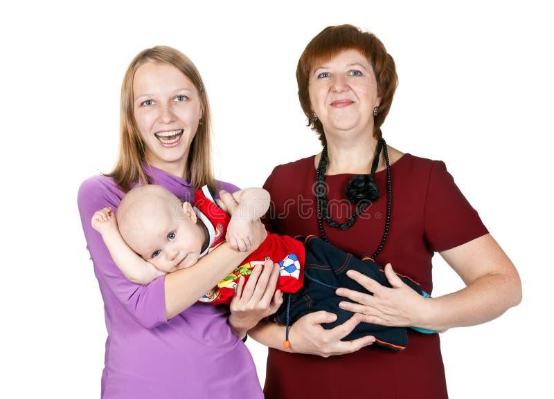 Gelukkige familiemoeder, grootmoeder en een jonge jongen royalty-vrije stock foto's