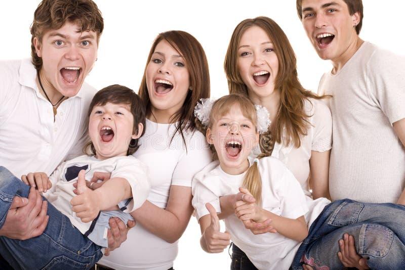 Gelukkige familiemoeder, vader, dochter en zoon. stock fotografie