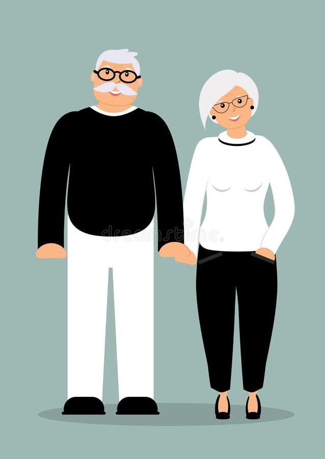 Gelukkige familieoudsten: de leuke glimlachende holding overhandigt slimme bejaarde en vrouw in de volledige groei gekleed in in  royalty-vrije illustratie