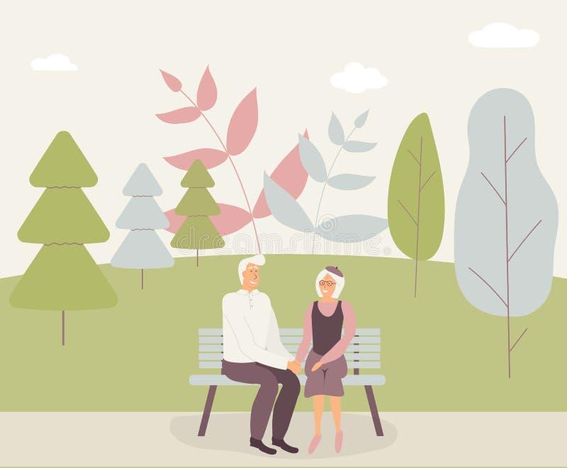 Gelukkige familieoudsten: het leuke glimlachende bejaarde en de vrouw houden handen en zitten op bank in park Teruggetrokken beja stock illustratie