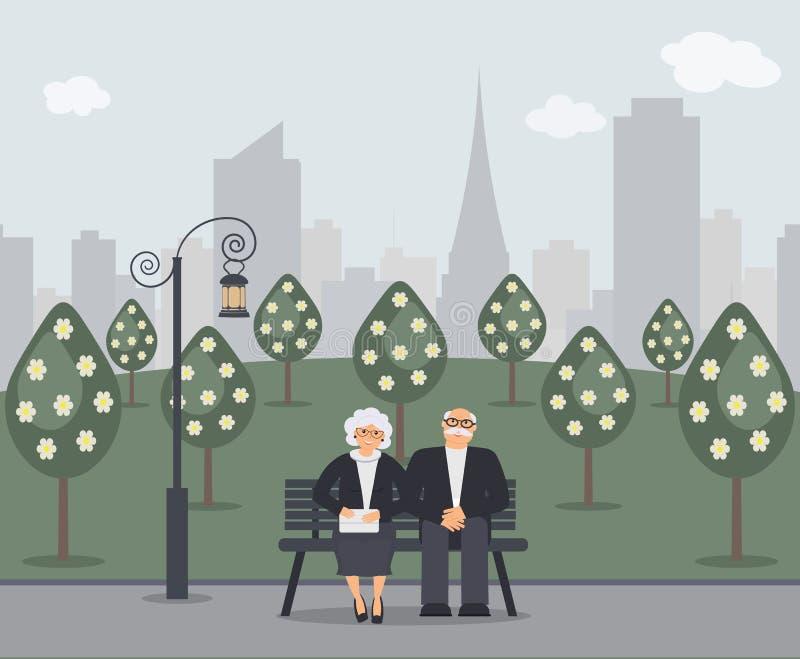 Gelukkige familieoudsten: het leuke glimlachende bejaarde en de vrouw met handtas zitten op bank in park Teruggetrokken bejaard p vector illustratie