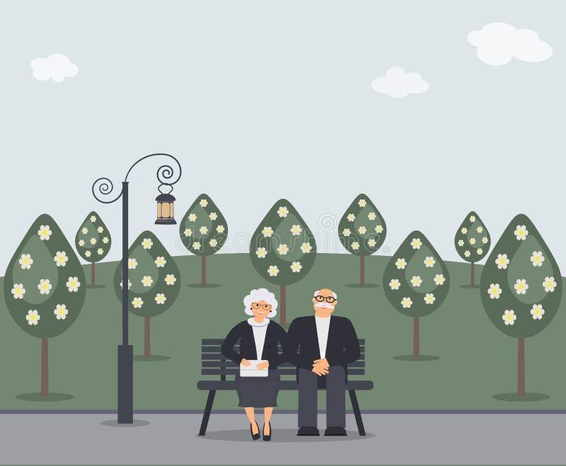 Gelukkige familieoudsten: het leuke glimlachende bejaarde en de vrouw met handtas zitten op bank in park Teruggetrokken bejaard p royalty-vrije illustratie