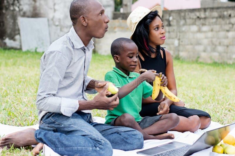 Gelukkige familiezitting bij de tuin die fruit voor lapt eten royalty-vrije stock foto