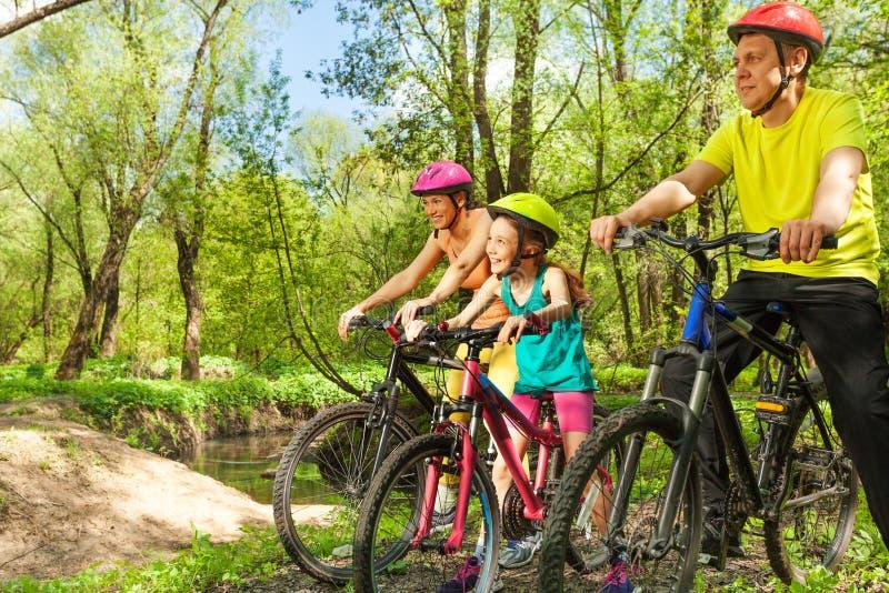Gelukkige fietsers die landschap van de lentepark bewonderen stock afbeeldingen