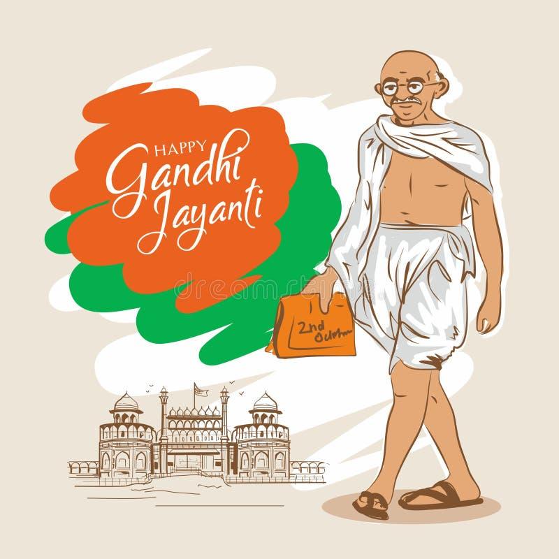 Gelukkige Gandhi Jayanti mahatamagandhi vector illustratie