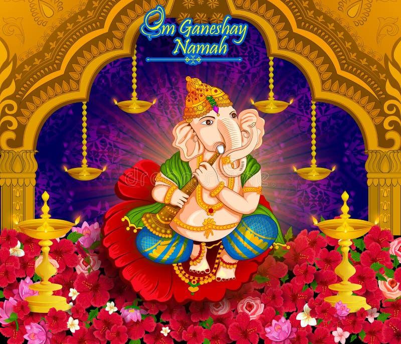Gelukkige Ganesh Chaturthi-festivalviering van India royalty-vrije illustratie