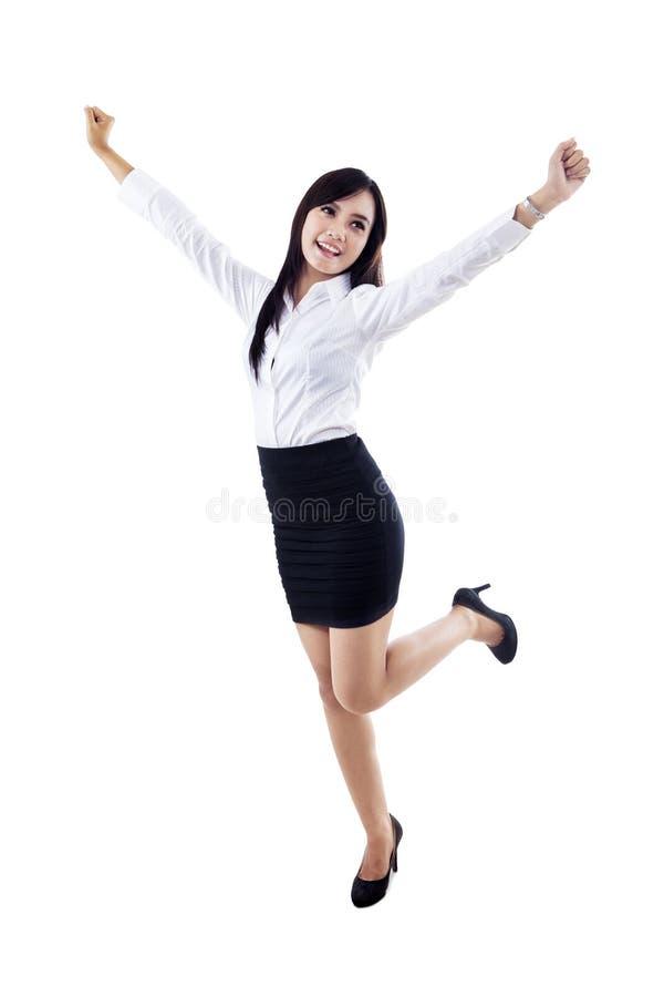 Download Gelukkige Geïsoleerdek Onderneemster Stock Afbeelding - Afbeelding bestaande uit geluk, haar: 29509191