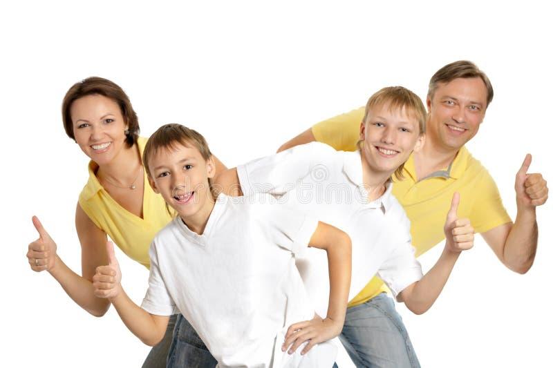 Gelukkige geïsoleerdet familie royalty-vrije stock afbeeldingen
