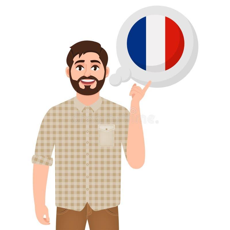 Gelukkige gebaarde mens die of over land Frankrijk, het Europese pictogram van het land, reiziger of toerist spreken denken stock illustratie