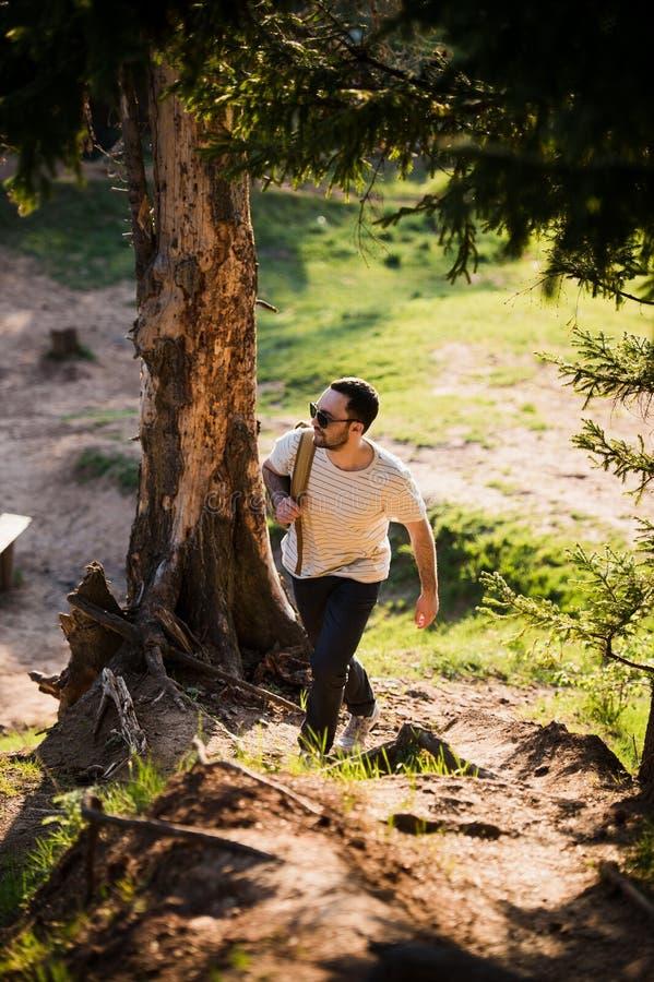 Gelukkige gebaarde mensenreiziger die met rugzak in bostoerisme, reis, avontuur, stijgingsconcept lopen - glimlachende jonge mens royalty-vrije stock afbeeldingen