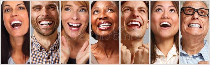 Gelukkige geplaatste mensengezichten royalty-vrije stock foto's