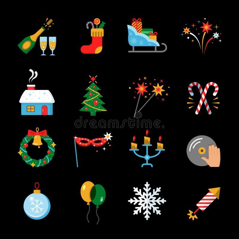 Gelukkige geplaatste Nieuwjaar vlakke pictogrammen royalty-vrije illustratie